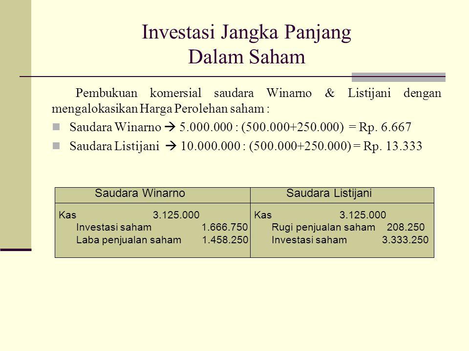 Investasi Jangka Panjang Dalam Saham Pembukuan komersial saudara Winarno & Listijani dengan mengalokasikan Harga Perolehan saham : Saudara Winarno  5