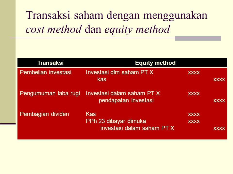 TransaksiEquity method Pembelian investasi Pengumuman laba rugi Pembagian dividen Investasi dlm saham PT X kas Investasi dalam saham PT X pendapatan i