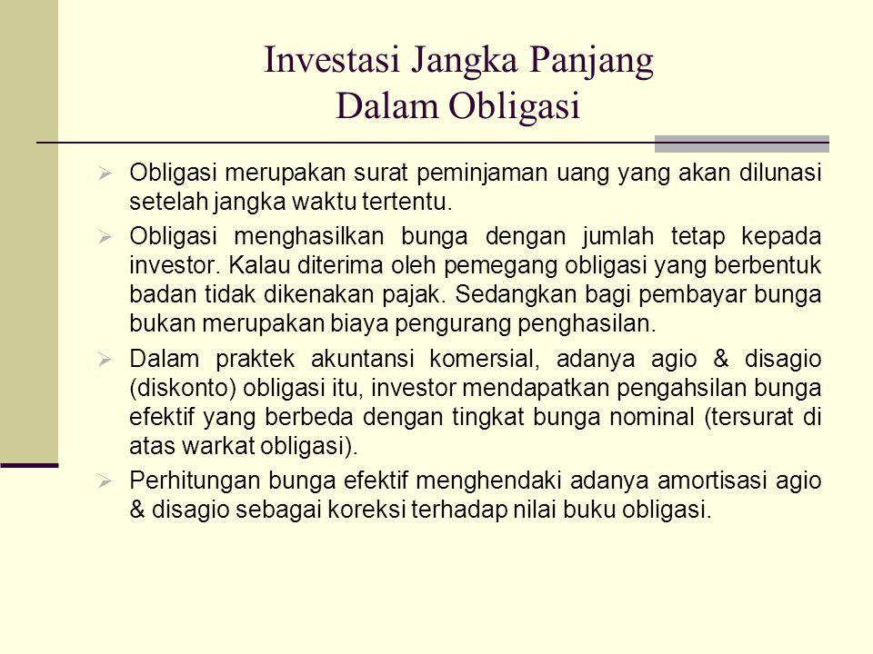Investasi Jangka Panjang Dalam Obligasi  Obligasi merupakan surat peminjaman uang yang akan dilunasi setelah jangka waktu tertentu.  Obligasi mengha
