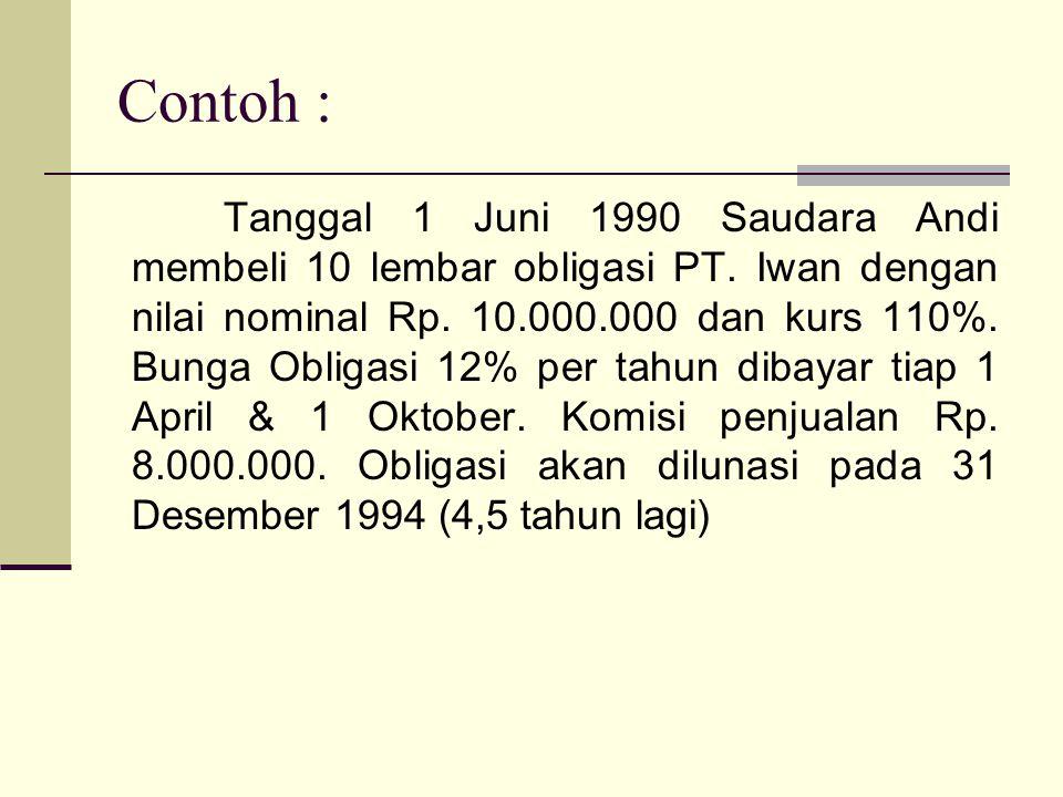 Contoh : Tanggal 1 Juni 1990 Saudara Andi membeli 10 lembar obligasi PT. Iwan dengan nilai nominal Rp. 10.000.000 dan kurs 110%. Bunga Obligasi 12% pe