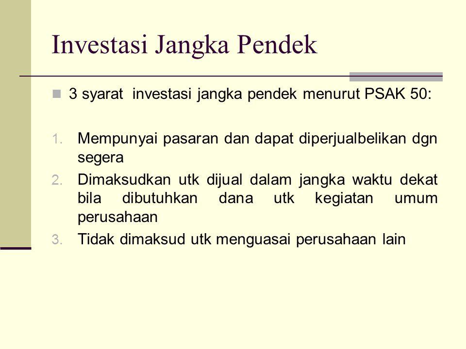 Investasi Jangka Pendek 3 syarat investasi jangka pendek menurut PSAK 50: 1. Mempunyai pasaran dan dapat diperjualbelikan dgn segera 2. Dimaksudkan ut