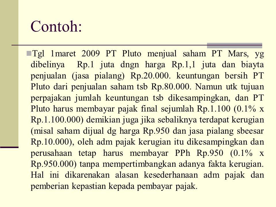 Contoh: Tgl 1maret 2009 PT Pluto menjual saham PT Mars, yg dibelinya Rp.1 juta dngn harga Rp.1,1 juta dan biayta penjualan (jasa pialang) Rp.20.000. k