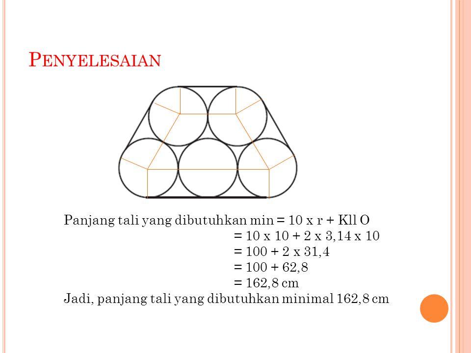 P ENYELESAIAN Panjang tali yang dibutuhkan min = 10 x r + Kll O = 10 x 10 + 2 x 3,14 x 10 = 100 + 2 x 31,4 = 100 + 62,8 = 162,8 cm Jadi, panjang tali yang dibutuhkan minimal 162,8 cm