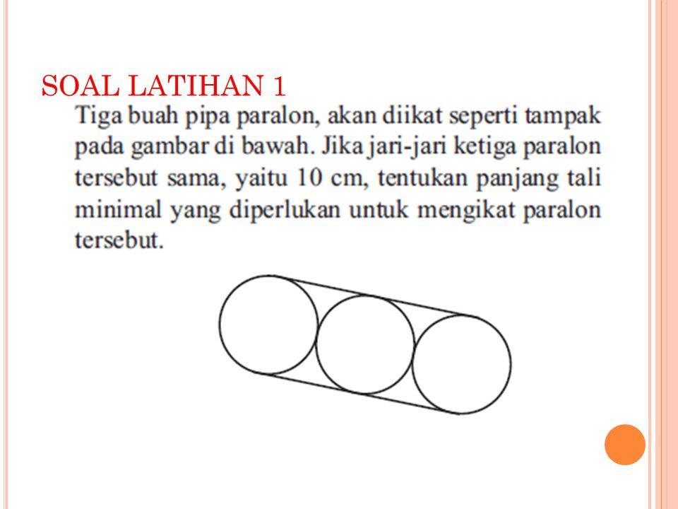 P ENYELESAIAN : Jari – jari = 10 cm Panjang tali yang dibutuhkan = 2 x ( 4 x r ) + Kll O = 2 x ( 4 x 10 ) + 2 x 3,14 x 10 = 2 x 40 + 2 x 31,4 = 80 + 62,8 = 142, 8 cm Jadi, tali yang dibutuhkan minimal 142,8 cm