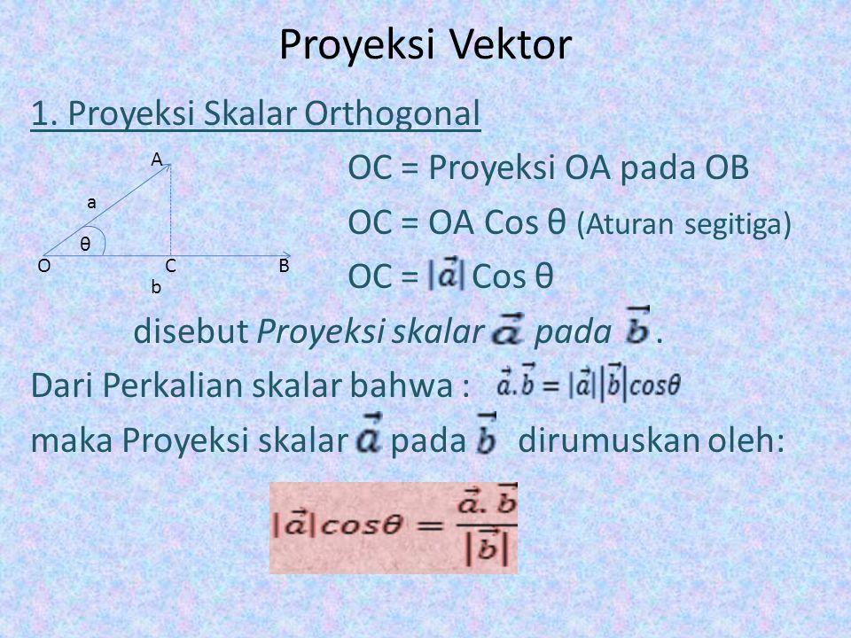Proyeksi Vektor 1. Proyeksi Skalar Orthogonal OC = Proyeksi OA pada OB OC = OA Cos θ (Aturan segitiga) OC = Cos θ disebut Proyeksi skalar pada. Dari P