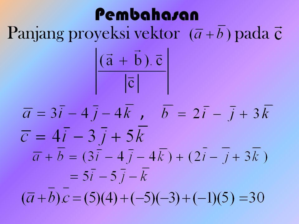 Pembahasan Panjang proyeksi vektor pada,
