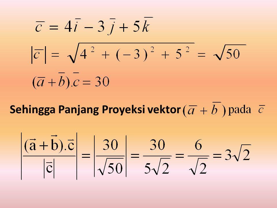 Sehingga Panjang Proyeksi vektor
