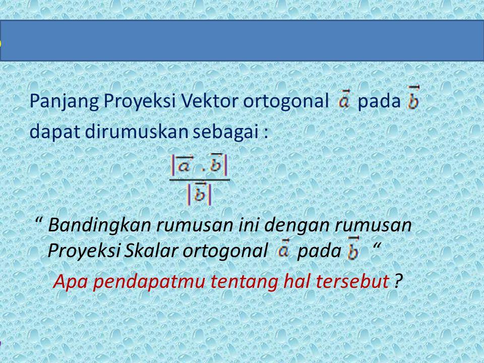 """Panjang Proyeksi Vektor ortogonal pada dapat dirumuskan sebagai : """" Bandingkan rumusan ini dengan rumusan Proyeksi Skalar ortogonal pada """" Apa pendapa"""