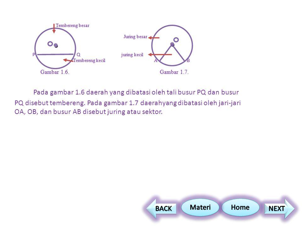 Pada gambar 1.6 daerah yang dibatasi oleh tali busur PQ dan busur PQ disebut tembereng. Pada gambar 1.7 daerahyang dibatasi oleh jari-jari OA, OB, dan