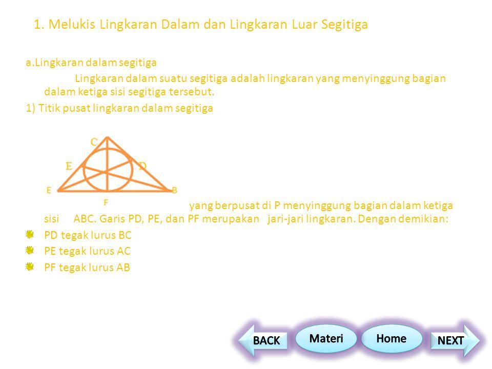 1. Melukis Lingkaran Dalam dan Lingkaran Luar Segitiga a.Lingkaran dalam segitiga Lingkaran dalam suatu segitiga adalah lingkaran yang menyinggung bag