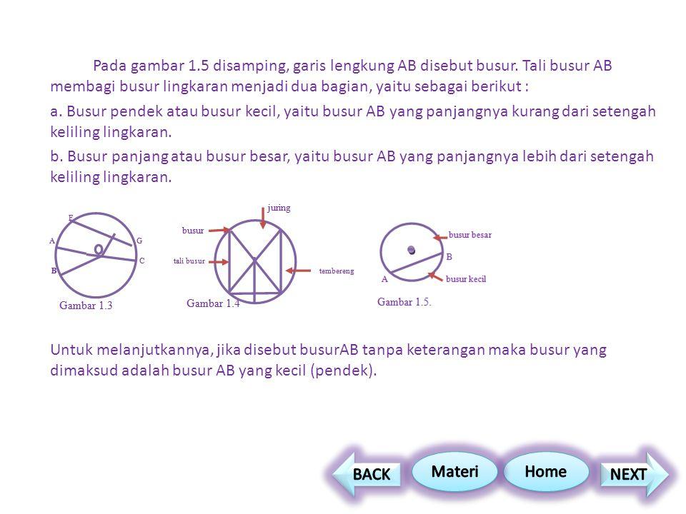 Pada gambar 1.5 disamping, garis lengkung AB disebut busur. Tali busur AB membagi busur lingkaran menjadi dua bagian, yaitu sebagai berikut : a. Busur