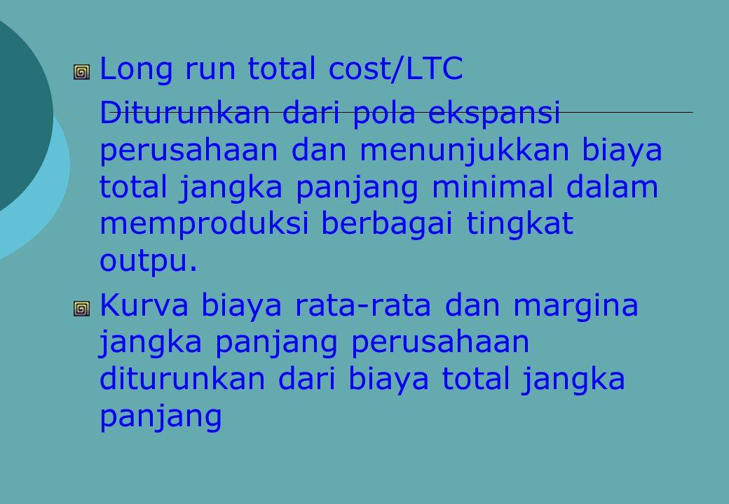 Long run total cost/LTC Diturunkan dari pola ekspansi perusahaan dan menunjukkan biaya total jangka panjang minimal dalam memproduksi berbagai tingkat outpu.