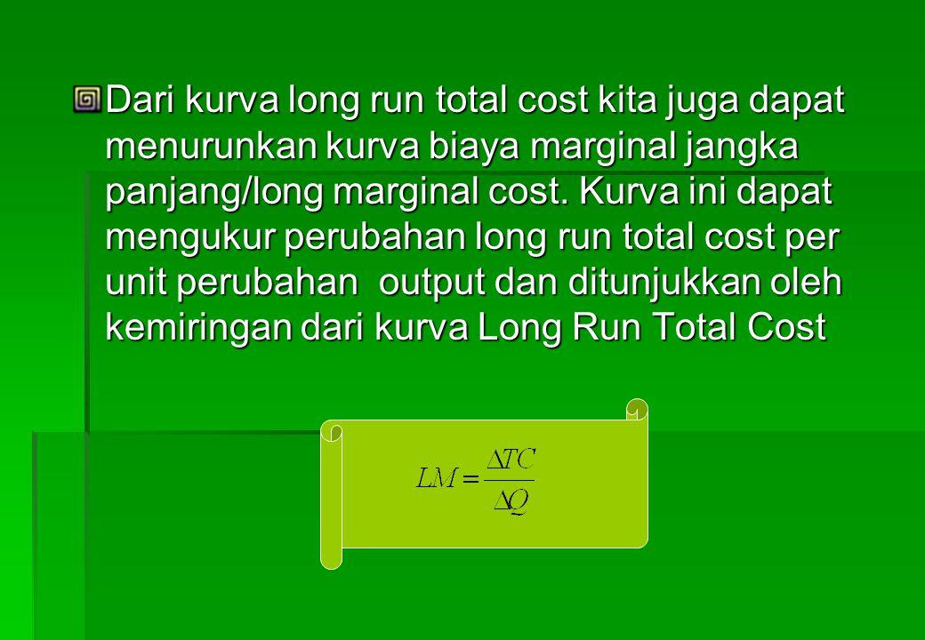 Dari kurva long run total cost kita juga dapat menurunkan kurva biaya marginal jangka panjang/long marginal cost.