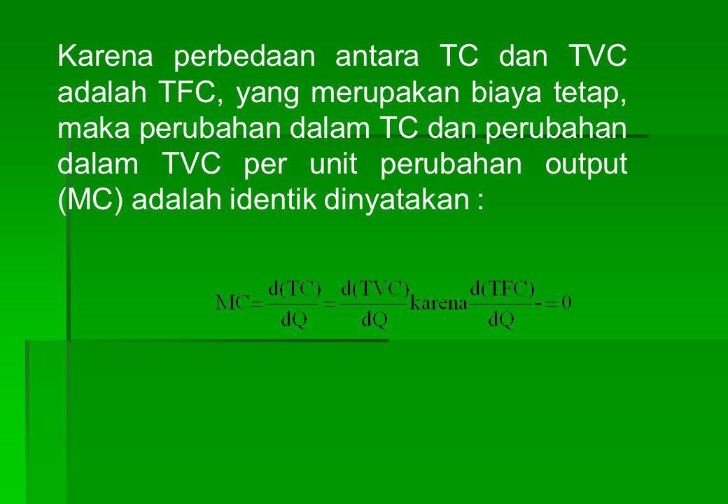 Karena perbedaan antara TC dan TVC adalah TFC, yang merupakan biaya tetap, maka perubahan dalam TC dan perubahan dalam TVC per unit perubahan output (MC) adalah identik dinyatakan :