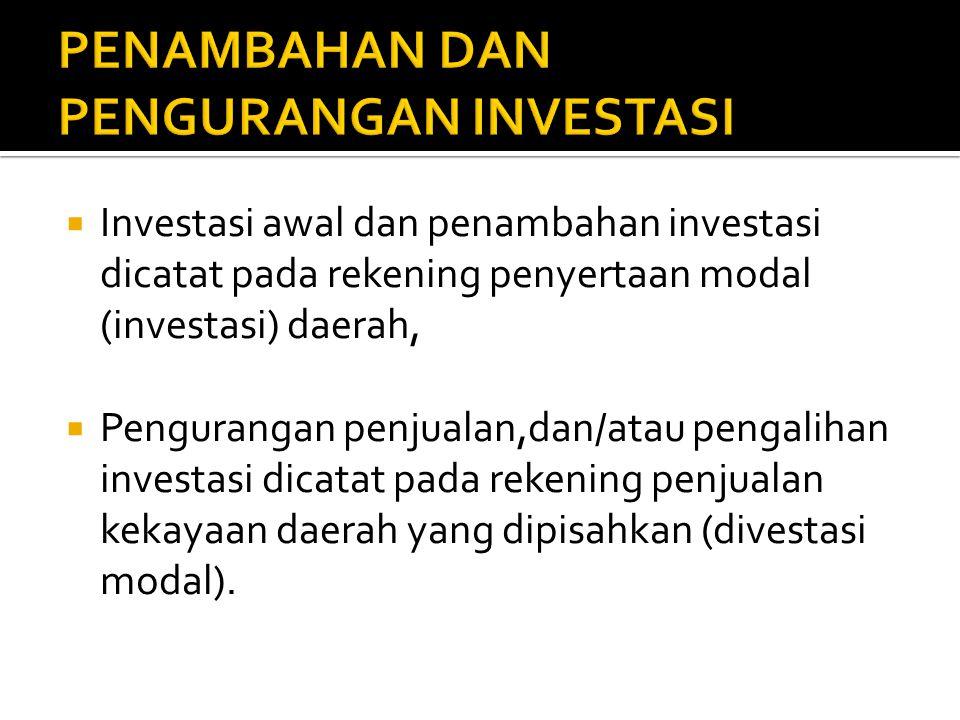  Investasi awal dan penambahan investasi dicatat pada rekening penyertaan modal (investasi) daerah,  Pengurangan penjualan,dan/atau pengalihan inves