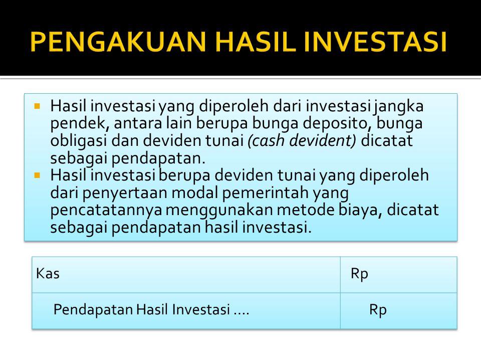  Hasil investasi yang diperoleh dari investasi jangka pendek, antara lain berupa bunga deposito, bunga obligasi dan deviden tunai (cash devident) dic