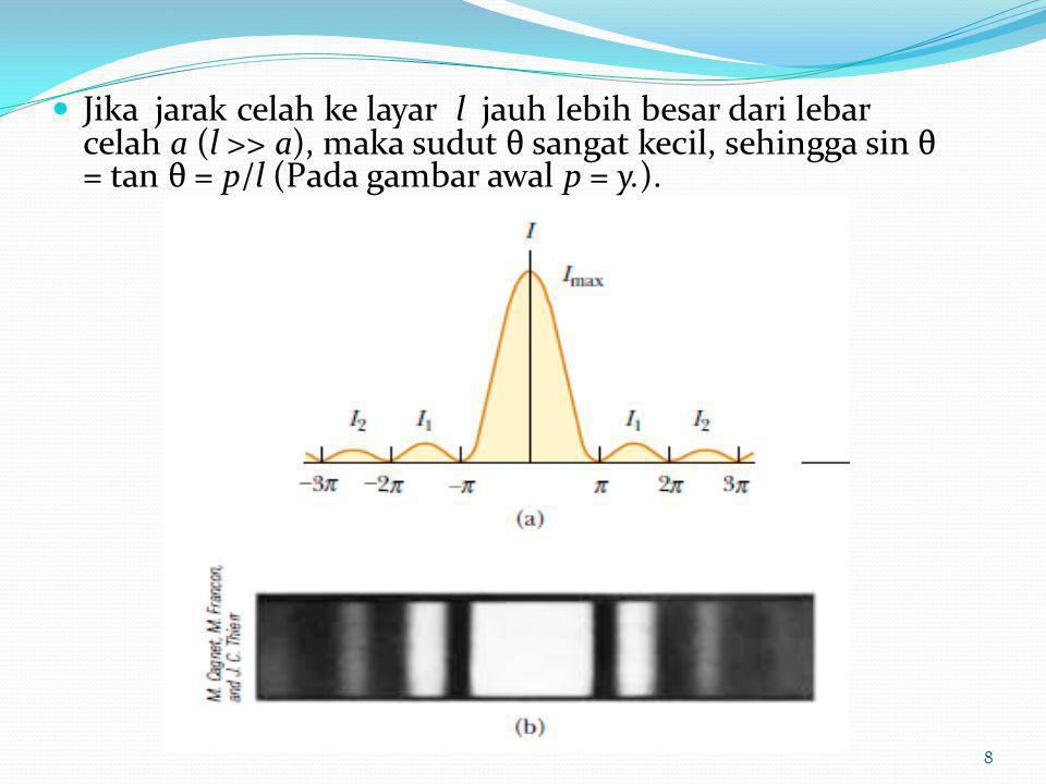 Jika jarak celah ke layar l jauh lebih besar dari lebar celah a (l >> a), maka sudut θ sangat kecil, sehingga sin θ = tan θ = p/l (Pada gambar awal p