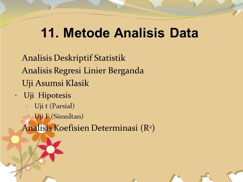 11. Metode Analisis Data Analisis Deskriptif Statistik Analisis Regresi Linier Berganda Uji Asumsi Klasik Uji Hipotesis Uji t (Parsial) Uji F (Simulta