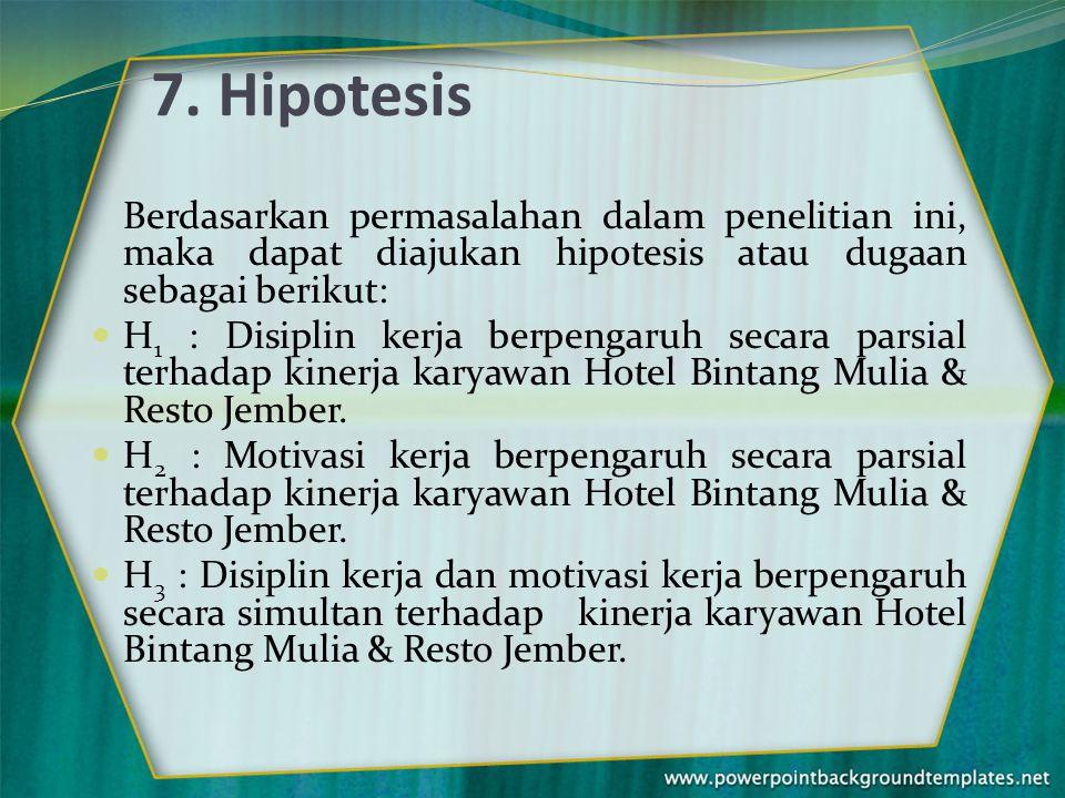 7. Hipotesis Berdasarkan permasalahan dalam penelitian ini, maka dapat diajukan hipotesis atau dugaan sebagai berikut: H 1 : Disiplin kerja berpengaru