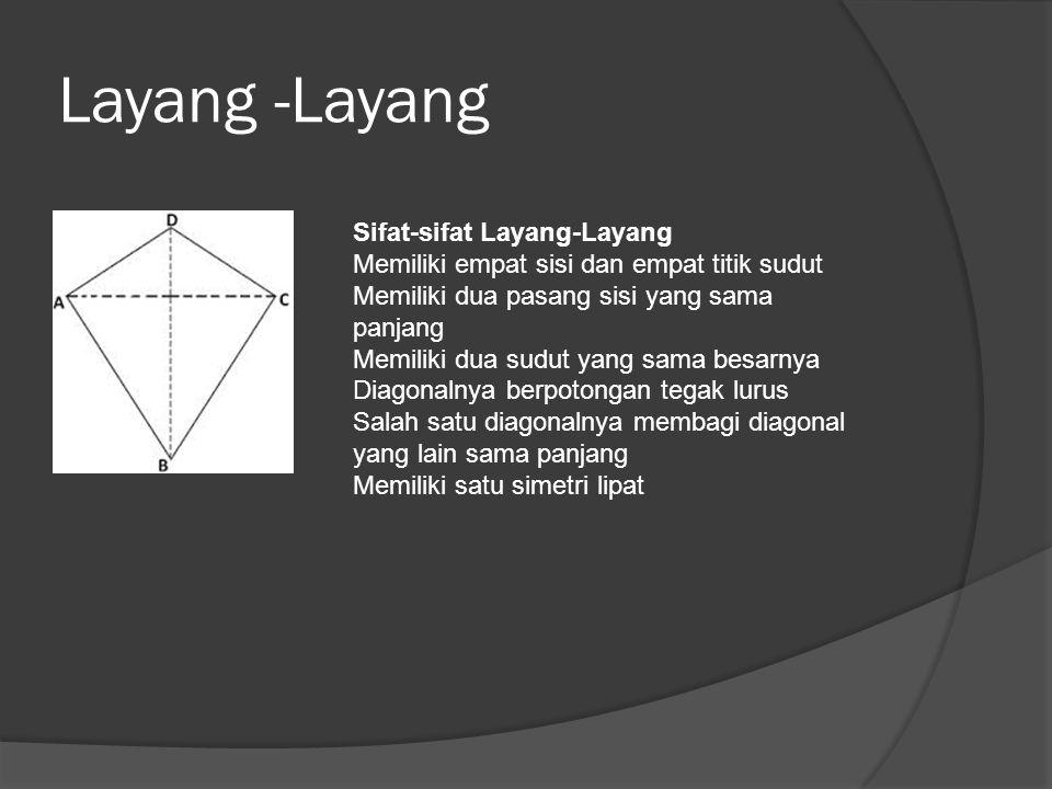 Layang -Layang Sifat-sifat Layang-Layang Memiliki empat sisi dan empat titik sudut Memiliki dua pasang sisi yang sama panjang Memiliki dua sudut yang