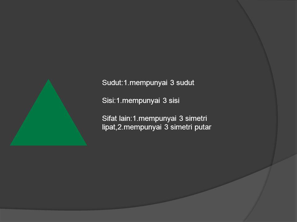 Sudut:1.mempunyai 3 sudut Sisi:1.mempunyai 3 sisi Sifat lain:1.mempunyai 3 simetri lipat,2.mempunyai 3 simetri putar