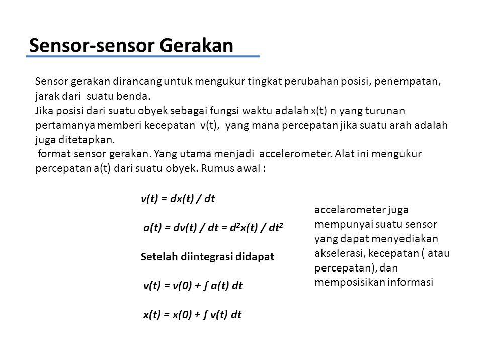 Sensor-sensor Gerakan Sensor gerakan dirancang untuk mengukur tingkat perubahan posisi, penempatan, jarak dari suatu benda. Jika posisi dari suatu oby
