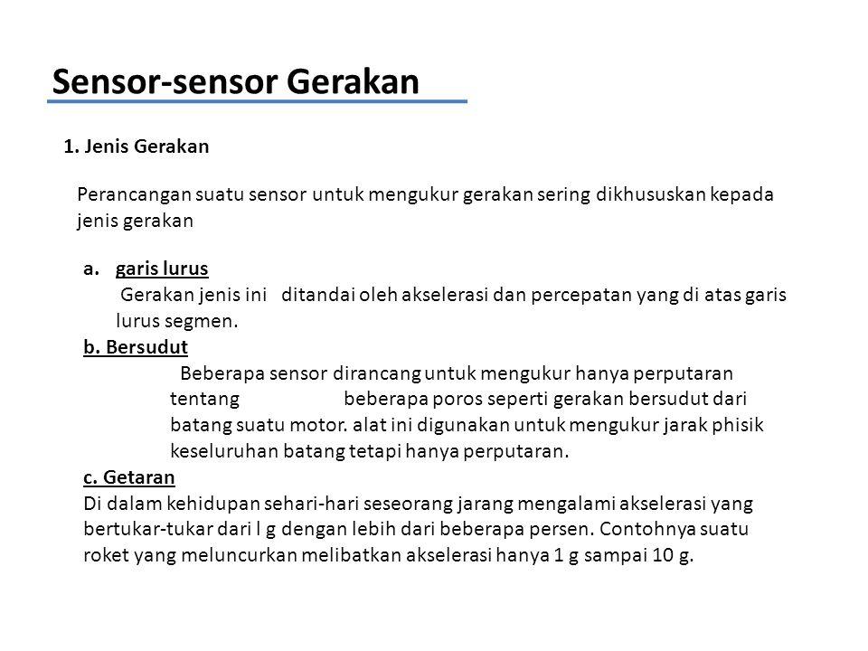 Sensor-sensor Gerakan 1. Jenis Gerakan Perancangan suatu sensor untuk mengukur gerakan sering dikhususkan kepada jenis gerakan a.garis lurus Gerakan j