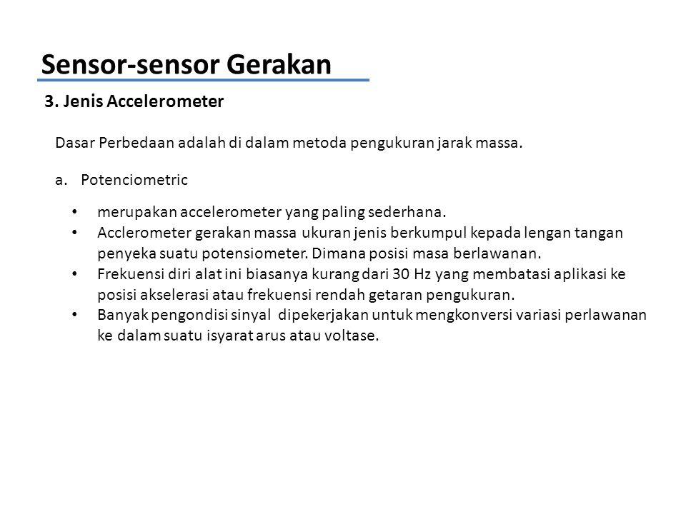 Sensor-sensor Gerakan 3. Jenis Accelerometer Dasar Perbedaan adalah di dalam metoda pengukuran jarak massa. a.Potenciometric merupakan accelerometer y
