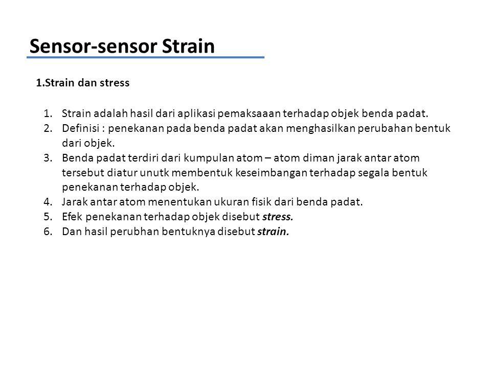 Sensor-sensor Strain 1.Strain dan stress 1.Strain adalah hasil dari aplikasi pemaksaaan terhadap objek benda padat. 2.Definisi : penekanan pada benda