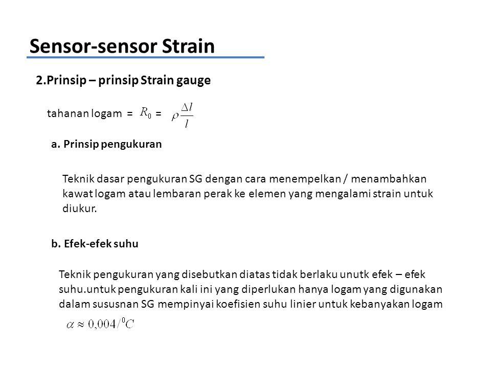 Sensor-sensor Strain 2.Prinsip – prinsip Strain gauge tahanan logam = = a. Prinsip pengukuran Teknik dasar pengukuran SG dengan cara menempelkan / men