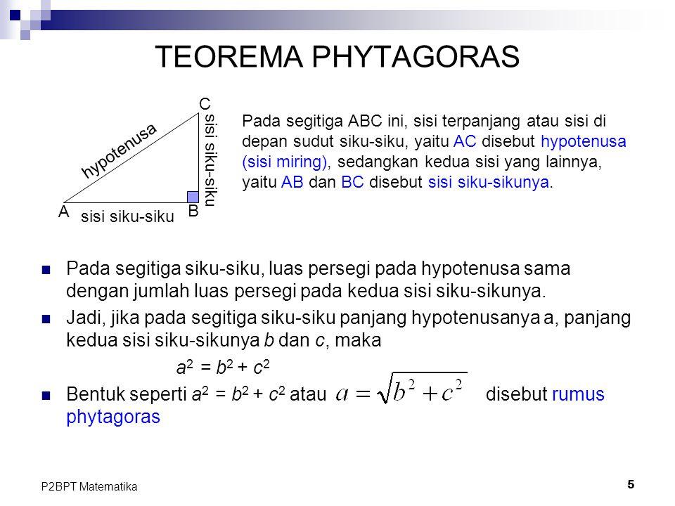 5 P2BPT Matematika TEOREMA PHYTAGORAS Pada segitiga siku-siku, luas persegi pada hypotenusa sama dengan jumlah luas persegi pada kedua sisi siku-sikun