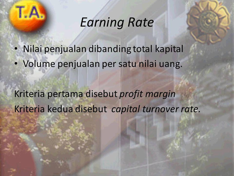 Earning Rate Nilai penjualan dibanding total kapital Volume penjualan per satu nilai uang.