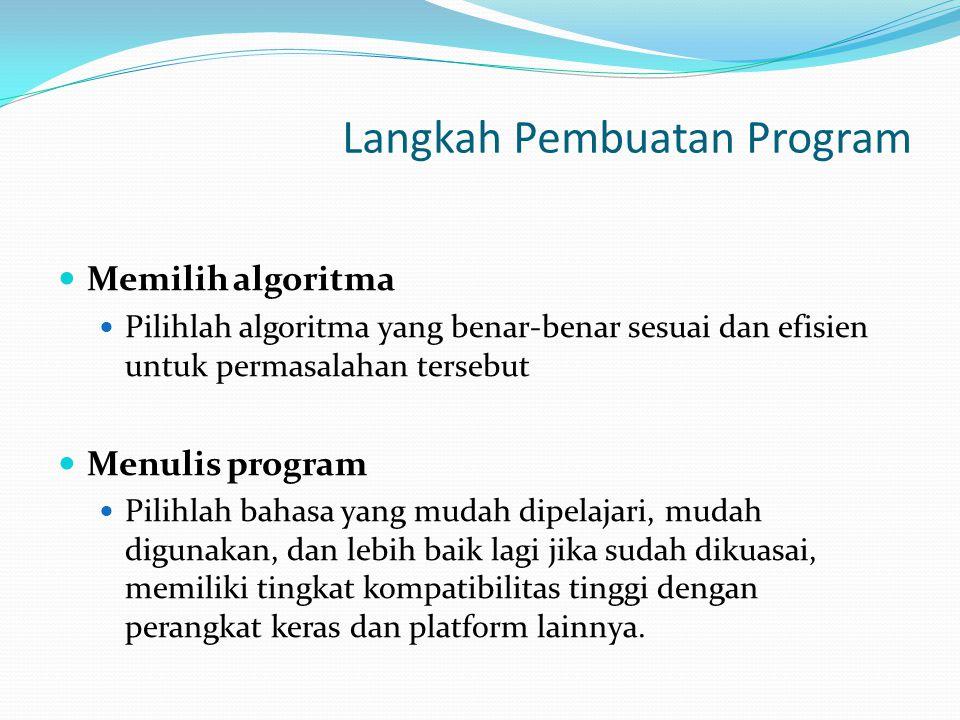 Memilih algoritma Pilihlah algoritma yang benar-benar sesuai dan efisien untuk permasalahan tersebut Menulis program Pilihlah bahasa yang mudah dipela