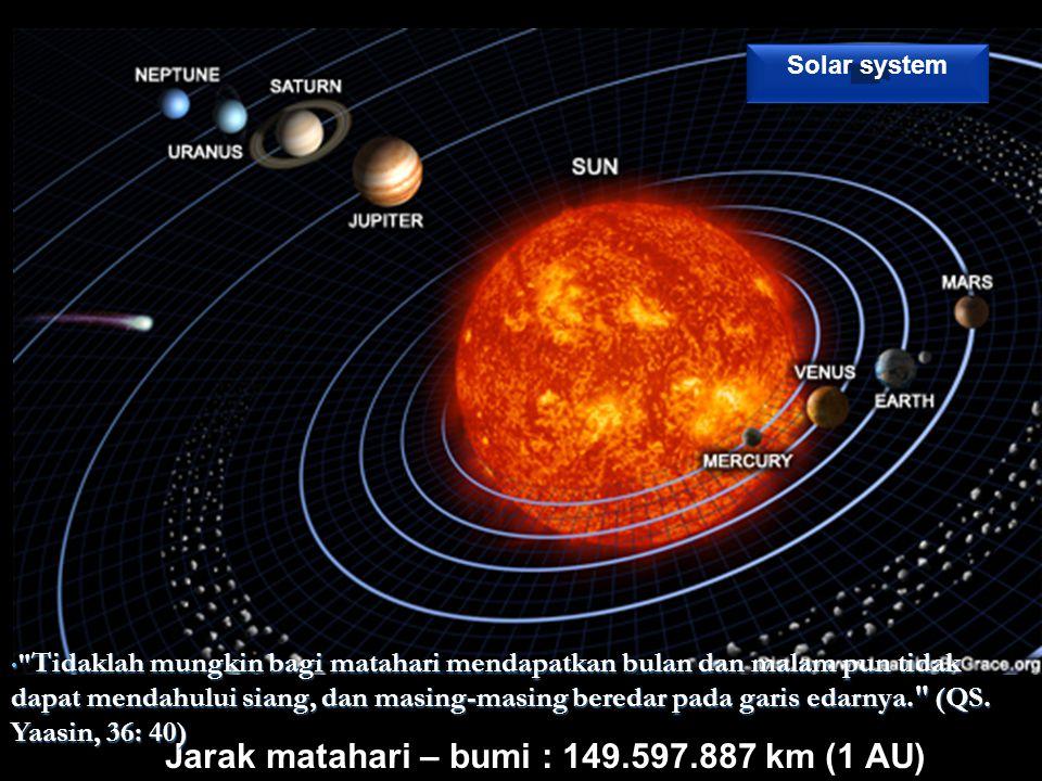 Jarak matahari – bumi : 149.597.887 km (1 AU) Tidaklah mungkin bagi matahari mendapatkan bulan dan malam pun tidak dapat mendahului siang, dan masing-masing beredar pada garis edarnya. (QS.