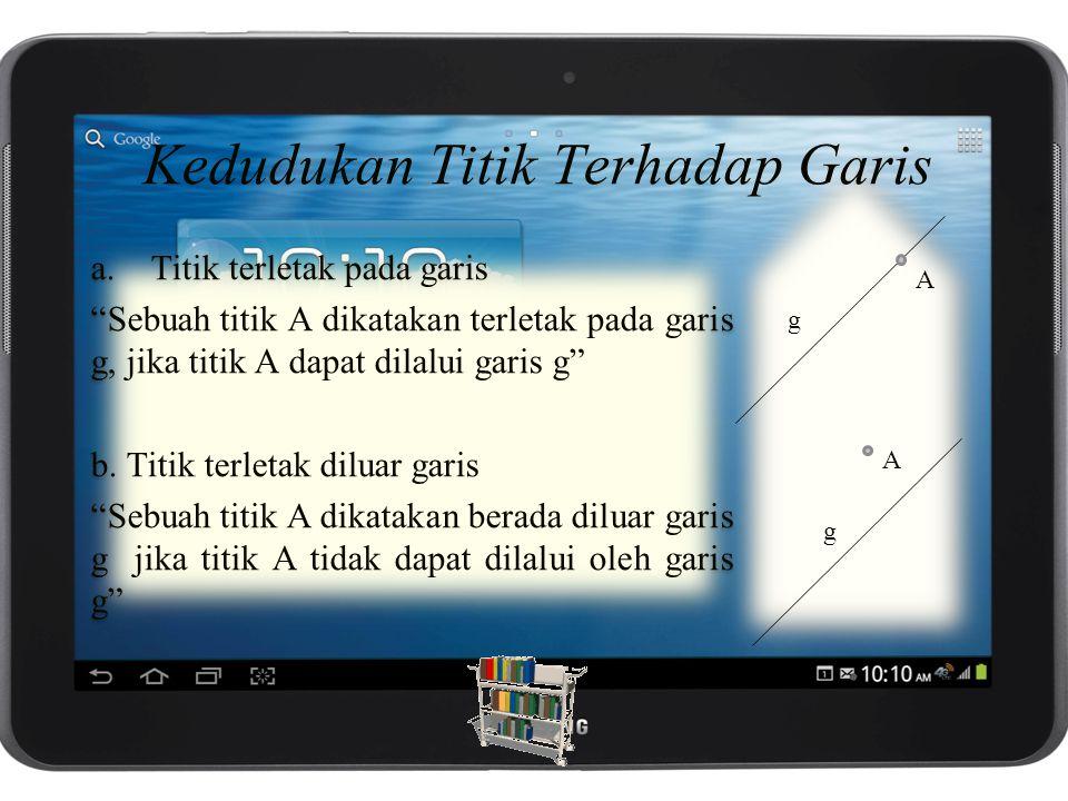 Kedudukan Titik Terhadap Garis a.Titik terletak pada garis Sebuah titik A dikatakan terletak pada garis g, jika titik A dapat dilalui garis g b.