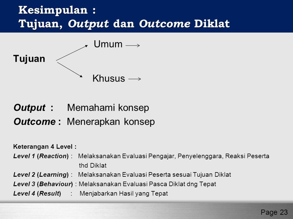T Umum Tujuan Khusus Output : Memahami konsep Outcome : Menerapkan konsep Keterangan 4 Level : Level 1 (Reaction) : Melaksanakan Evaluasi Pengajar, Pe