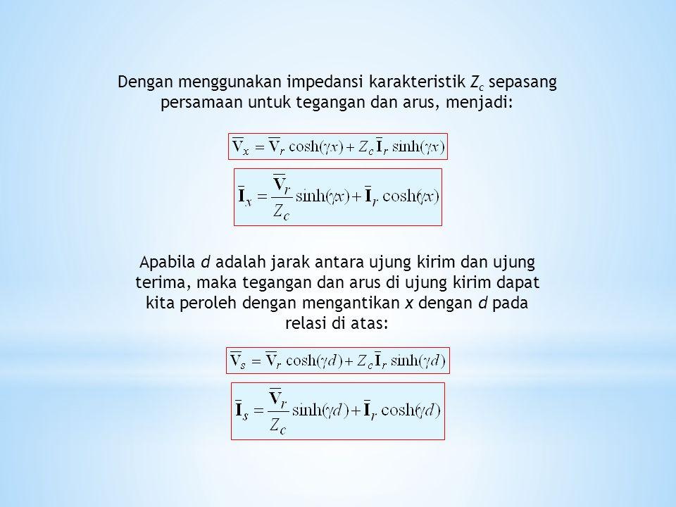 Apabila d adalah jarak antara ujung kirim dan ujung terima, maka tegangan dan arus di ujung kirim dapat kita peroleh dengan mengantikan x dengan d pad