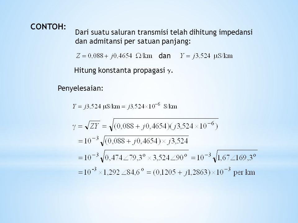 Dengan konstanta propagasi Persamaan tegangan orde ke-2: persaman tersebut menjadi Persaman karakteristik: Solusi: yang untuk x = 0, yaitu di ujung kirim: Solusi Persamaan Tegangan Persamaan tegangan orde ke-1: