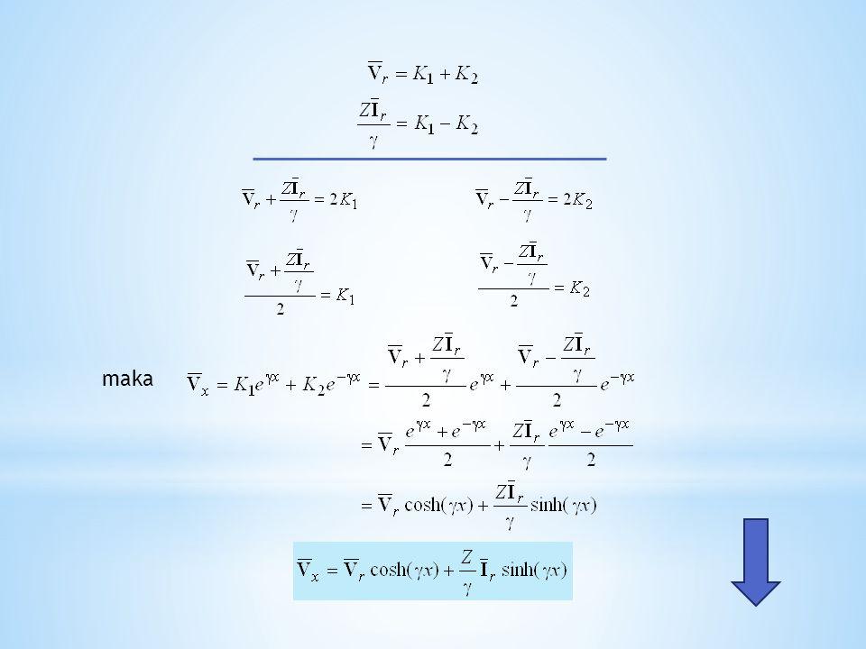 Persamaan tegangan orde pertama menjadi atau Dengan demikian kita mempunyai sepasang persamaan untuk tegangan dan arus, yaitu: