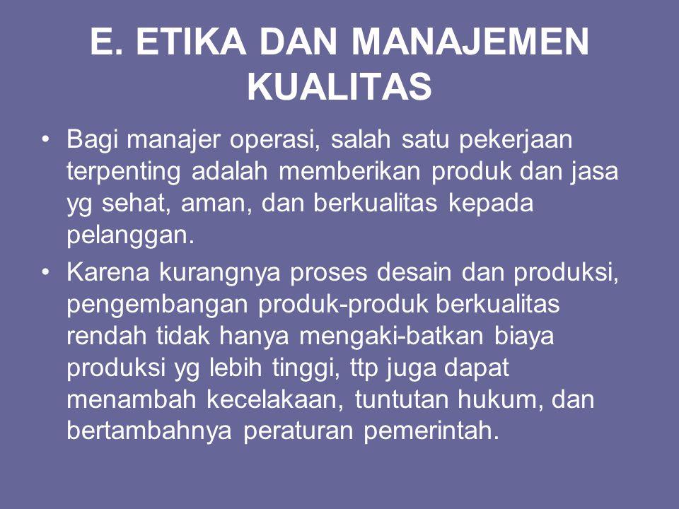 E. ETIKA DAN MANAJEMEN KUALITAS Bagi manajer operasi, salah satu pekerjaan terpenting adalah memberikan produk dan jasa yg sehat, aman, dan berkualita
