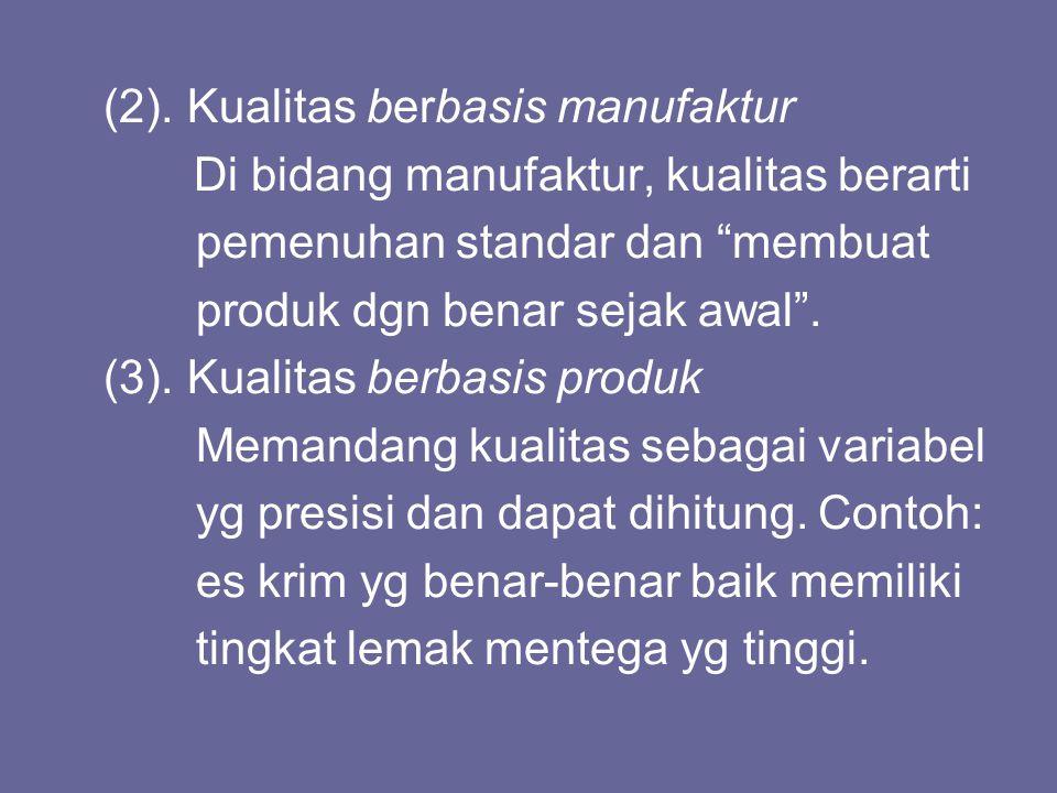 """(2). Kualitas berbasis manufaktur Di bidang manufaktur, kualitas berarti pemenuhan standar dan """"membuat produk dgn benar sejak awal"""". (3). Kualitas be"""
