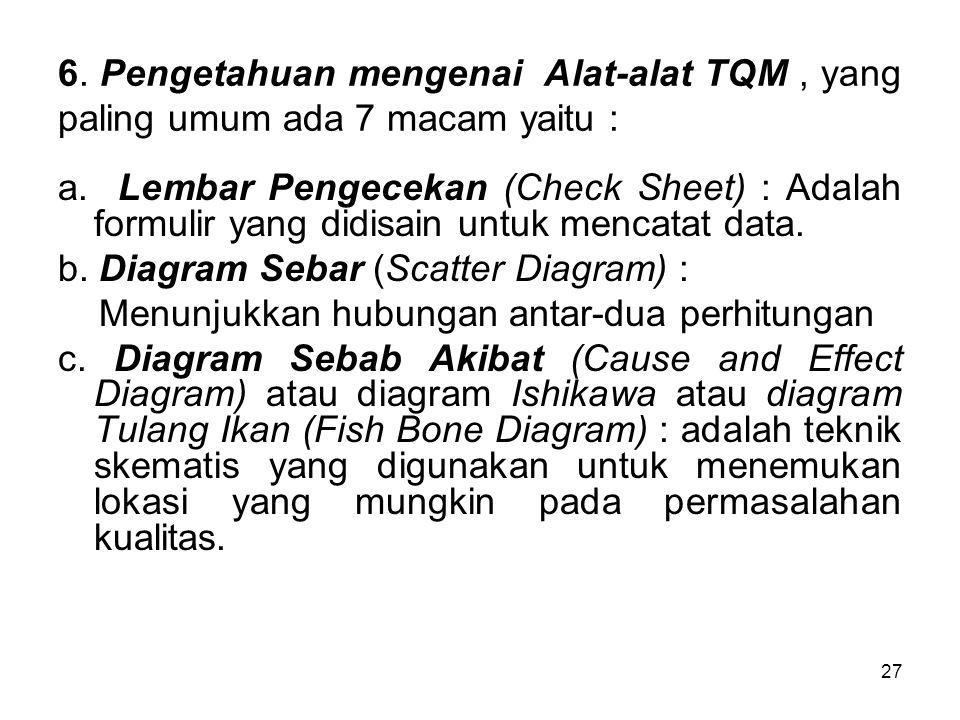 27 6.Pengetahuan mengenai Alat-alat TQM, yang paling umum ada 7 macam yaitu : a.