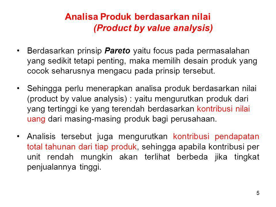5 Analisa Produk berdasarkan nilai (Product by value analysis) Berdasarkan prinsip Pareto yaitu focus pada permasalahan yang sedikit tetapi penting, maka memilih desain produk yang cocok seharusnya mengacu pada prinsip tersebut.