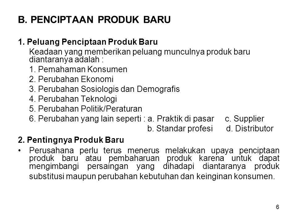 6 B.PENCIPTAAN PRODUK BARU 1.