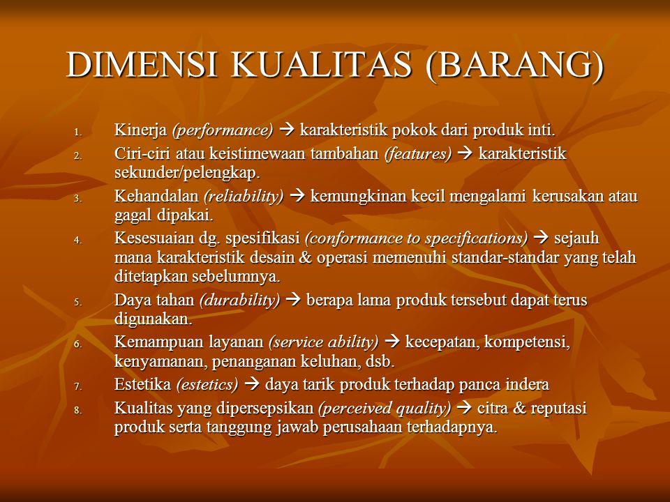 DIMENSI KUALITAS (BARANG) 1. Kinerja (performance)  karakteristik pokok dari produk inti. 2. Ciri-ciri atau keistimewaan tambahan (features)  karakt