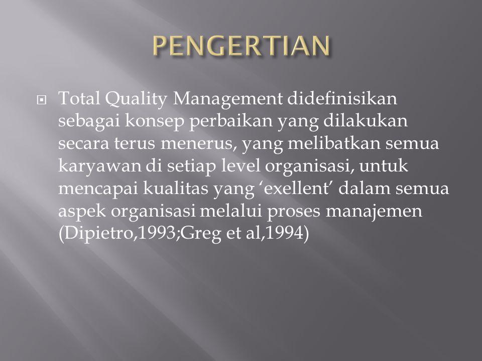  Total Quality Management didefinisikan sebagai konsep perbaikan yang dilakukan secara terus menerus, yang melibatkan semua karyawan di setiap level organisasi, untuk mencapai kualitas yang 'exellent' dalam semua aspek organisasi melalui proses manajemen (Dipietro,1993;Greg et al,1994)