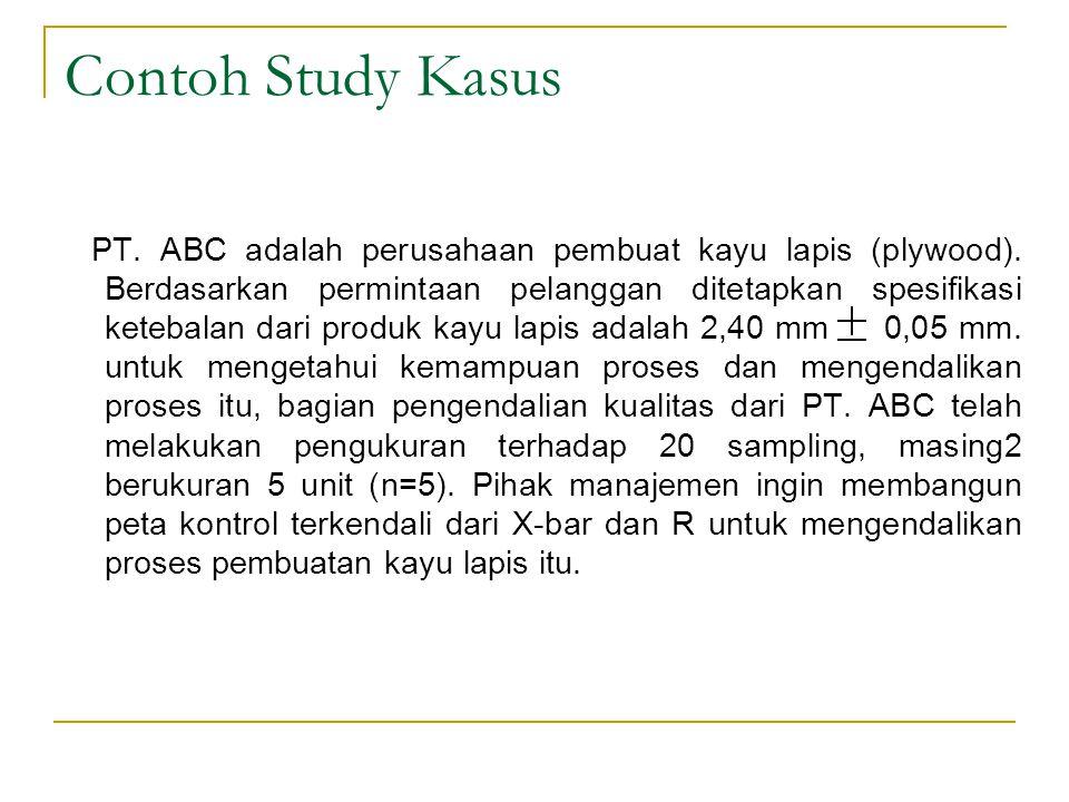 Contoh Study Kasus PT. ABC adalah perusahaan pembuat kayu lapis (plywood). Berdasarkan permintaan pelanggan ditetapkan spesifikasi ketebalan dari prod