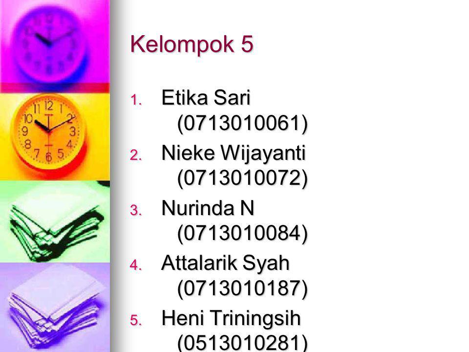 Kelompok 5 1.Etika Sari (0713010061) 2. Nieke Wijayanti (0713010072) 3.