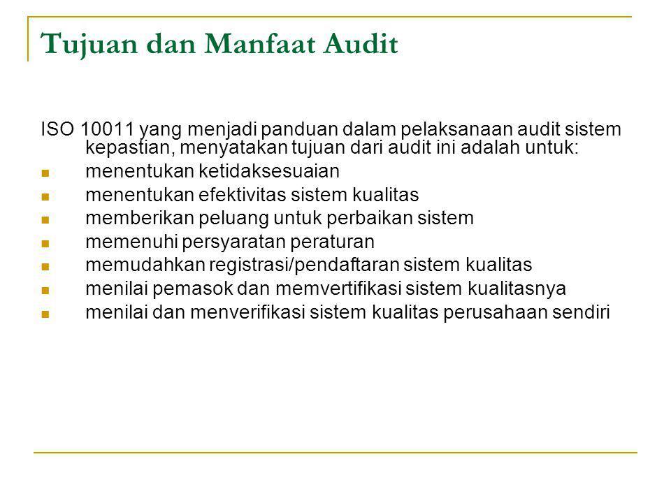 Tujuan dan Manfaat Audit ISO 10011 yang menjadi panduan dalam pelaksanaan audit sistem kepastian, menyatakan tujuan dari audit ini adalah untuk: menentukan ketidaksesuaian menentukan efektivitas sistem kualitas memberikan peluang untuk perbaikan sistem memenuhi persyaratan peraturan memudahkan registrasi/pendaftaran sistem kualitas menilai pemasok dan memvertifikasi sistem kualitasnya menilai dan menverifikasi sistem kualitas perusahaan sendiri