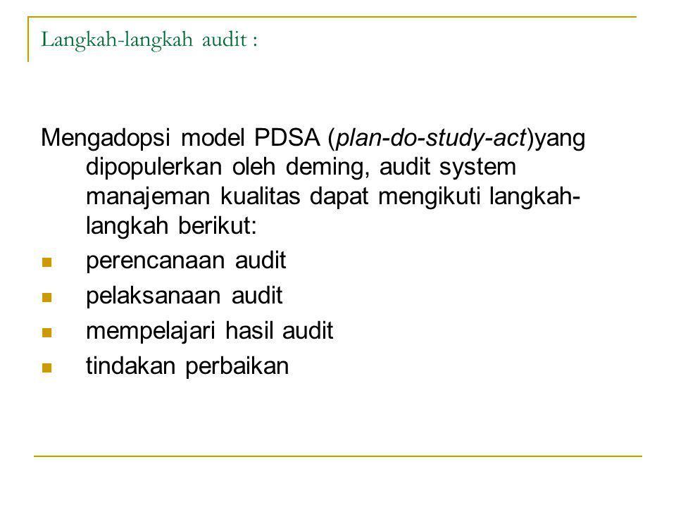 Langkah-langkah audit : Mengadopsi model PDSA (plan-do-study-act)yang dipopulerkan oleh deming, audit system manajeman kualitas dapat mengikuti langkah- langkah berikut: perencanaan audit pelaksanaan audit mempelajari hasil audit tindakan perbaikan